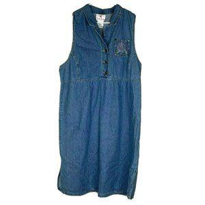 Quacker Factory Dress XL Denim Blue Jean Bling